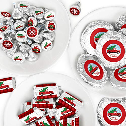 Big Dot of Happiness Merry Little Christmas Tree - Mini Candy Bar Wrappers, Round Candy Stickers and Circle Stickers - Red Truck and Car Christmas Party Candy Favor Sticker Kit - 304 Pieces