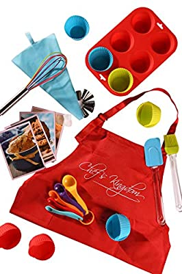 Riki's Kingdom Kids real baking cupcake set with recipes 33-Piece/Child Apron/Muffin Pans/decorating kit, Measuring Spoons,whisk,Spatula,Pastry Brush/Gift Giving Box