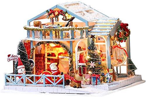 クリスマスミニチュアドールハウス 木製コテージハウス キットミニ3D木造住宅リビングルームクラフト家具ledライト子供の誕生日ギフトクリスマス装飾
