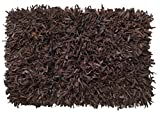 HF by LT Handwoven Leather Shag Rug, 24 x 36 inches, Chocolate