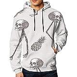 Teens Fashion Printed Sweatshirt Hoodie Pullover, Abstract Cartoon Skull On Flam Size XL