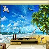 Xbwy 装飾壁画壁紙シービュー地中海スタイルビーチシーサイド風景壁紙リビングルームの背景壁の装飾壁画-150X120Cm