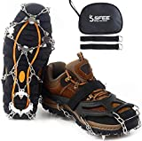 Sfee Ice Snow Grips Crampons Traction Cleats,19 Stainless Steel Spikes for Women Men Kids, Anti Slip Flexible Shoe/Boot Footwear for Walking Climbing Hiking Fishing Outdoor(Black,L(US:8-11))