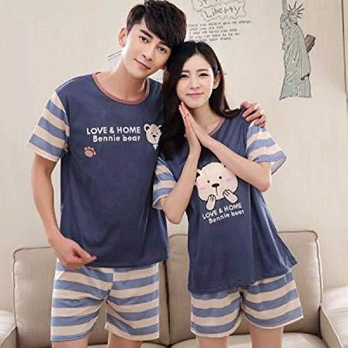 mächtig ZHANGNUO Paar Pyjamas Frauen Männer Sommer Cartoon Kurzarm Pullover Hosen Pyjamas Set…