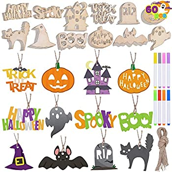 Halloween Wooden Slices DIY Arts & Crafts Kit  Blank Cutouts Ornaments Make Your Own Gift Tags Decorations for Kids Homeschool Learning Family Activities Party Favor Supplies