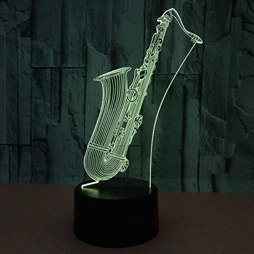 WULDOP Luz 3D Lámpara De Ilusión Led Noche Saxofón instrumento musical creatividad. Lámpara Nocturna Luz De Noche Luz Quitamiedos Infantil Led Para Habitación Infantil Dormitorio Baño Cuna Pasillo