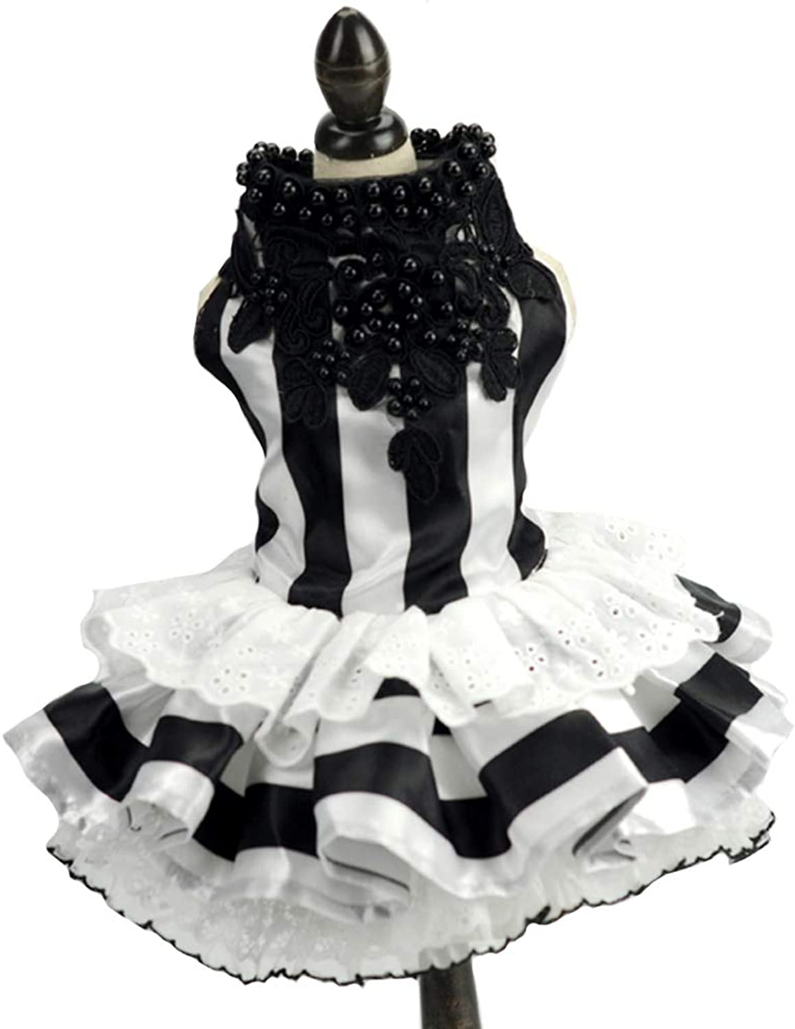 Embroidered Dog Dress Puppy Tutu Dress Black and White Stripes and Black Pearls Skirt Tutu Skirt Flower Dog Pet Cat,XL