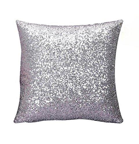 Preisvergleich Produktbild Rosennie Solid Color Glitter Pailletten Dekokissen Fall Cafe Home Decor 40cm*40cm Kissenbezüge (Himmel Blau) (Silber)