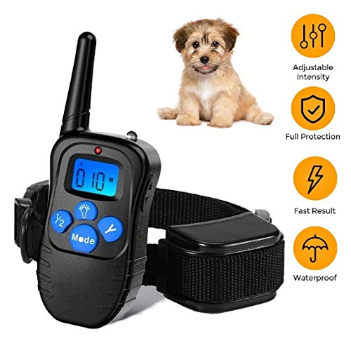 Dog Training Collar Rechargeable Rainproof 330 yd Remote Dog Training Shock Collar -Vibration, Vibra Shock Electronic Collar,Shock and Tone with Backlight LCD