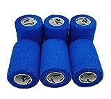 PintoMed - Vendaje cohesivo azul estirado 6 rollos x 7,5 cm x 4,5 m, autoadhesivo, flexible, calidad profesional, vendas deportivas de primeros auxilios – Paquete de 6