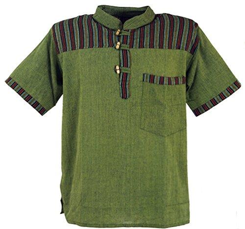 GURU SHOP Nepal Fischerhemd, Gestreiftes Goa Hippie Kurzarmhemd, Herren, Olive, Baumwolle, Size:XXXL, Hemden Alternative Bekleidung