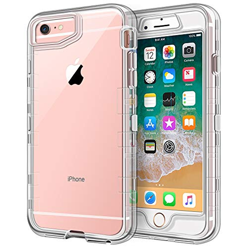 Anuck Case for iPhone 6S Case, for iPhone 6 Case (4.7 inch), Crystal Clear 3 in 1 Heavy Duty Defender Case Shockproof Full-Body Protective Case Hard PC Shell & Soft TPU Bumper Cover - Clear