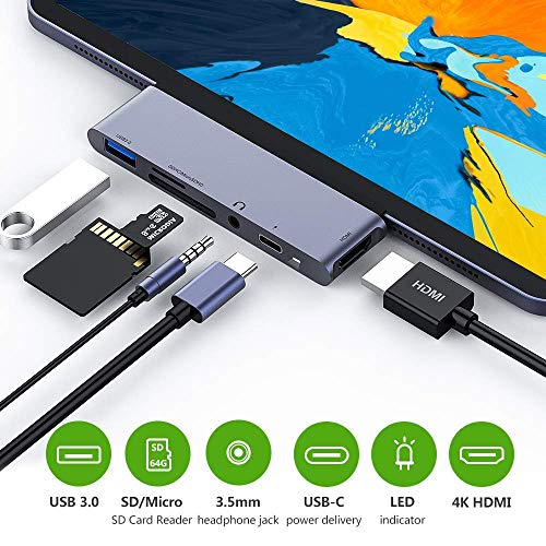 Price comparison product image USB C Hub for iPad Pro 2018,  USB Type-C to 4K HDMI Adapter w / USB 3.0,  SD / TF Card Reader,  3.5mm Headphone Jack