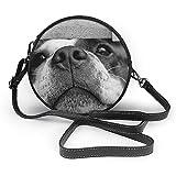 TURFED PU sac à bandoulière rond mode noir et blanc Image de chien mignon regardant à travers le sac à main de clôture