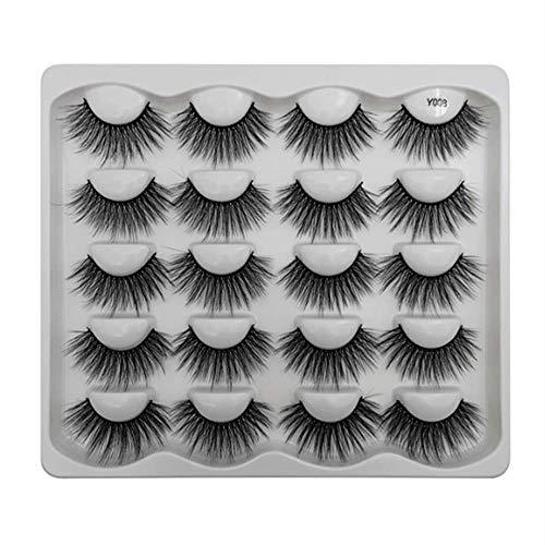 Beauty Glazed Cils de vison 3D faits à la main cils moelleux naturels réutilisables extensions bouclés maquillage cils en vrac volume luxueux doux charmants faux cils (10 paires) #08
