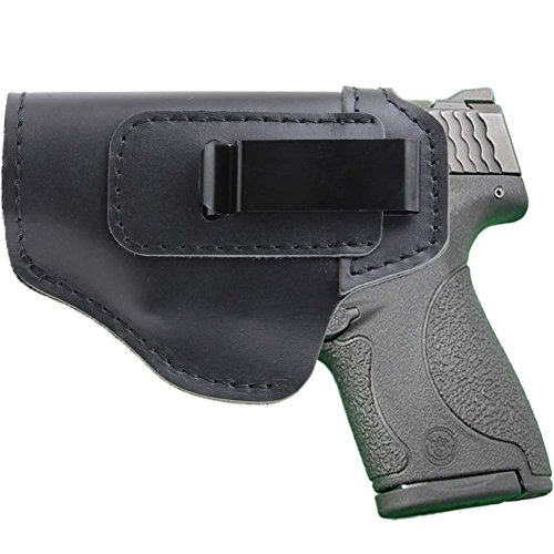 IWB Leather Holster for Inside Waistband Concealed Carry Fits:S&W M&P Shield-Glock19 26 29 30 32 43-Beretta Px4-RUGER EC9s-SIG-HK-Taurus-XDS or Similar Sized Handguns