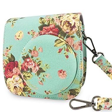 Wolven Protective Case Bag Purse for Fujifilm Instax Mini 8,Mini 8+,Mini 9 Camera, Green Vintage Rose