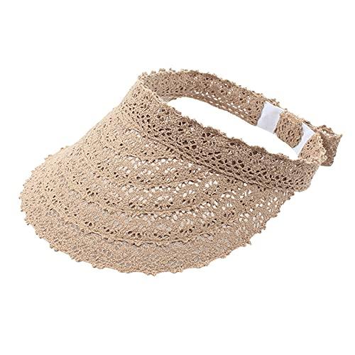 Sombrero de paja con visera de paja para mujer, de ala ancha, protección UV, para verano, gorra de playa, paquete plegable, sombrilla de encaje, sombrero de copa vacío (marrón)
