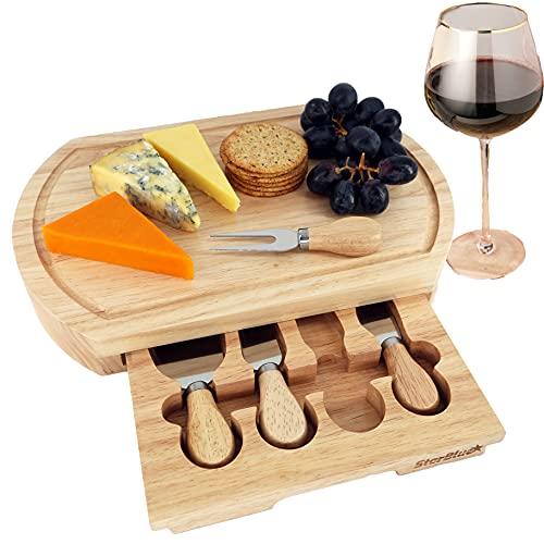 Queso Junta Set por starblue – Grande - con 4 cuchillos y madera de roble con cajón | gran queso y plato para servir de corte de plato bandeja | mejor para inauguración de la casa