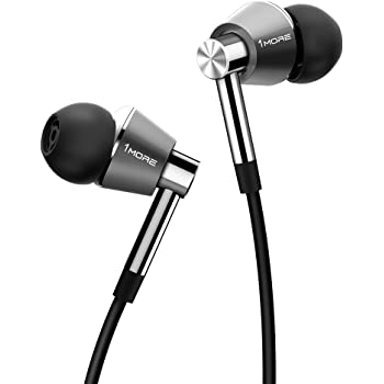 1MORE Triple Driver in-Ear Earphones Hi-Res Headphones with High Resolution, Bass Driven Sound, MEMS Mic, in-Line Remote, High Fidelity for Smartphones/PC/Tablet - Silver