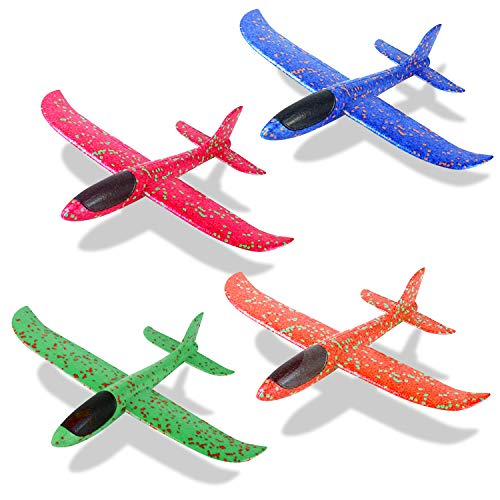 Sinwind 4 Pezzi Aerei Alianti in Volo, aliante Aereo Schiuma, Giocattolo di aeromobili in Schiuma, per Bambini Sport all'aperto Giocattoli o Regalo (Blu + Arancione + Rosa + Verde)