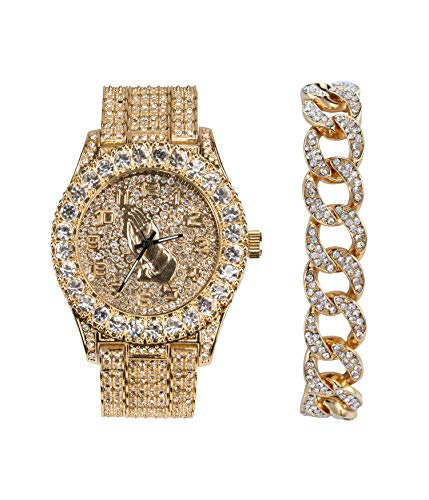 Mens 44mm Bling-ed Out Gold Praying Hand Dial Watch and Metal Band and Cuban Link Bracelet Set