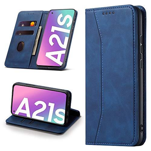 Leaisan Handyhülle für Samsung Galaxy A21S Hülle Premium Leder Flip Klappbare Stoßfeste Magnetische [Standfunktion] [Kartenfächern] Schutzhülle für Samsung Galaxy A21S Tasche - Blau