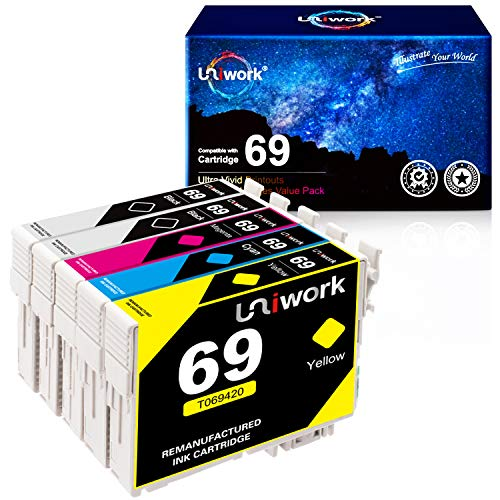 Uniwork Remanufactured Ink Cartridge Replacement for Epson 69 use for Stylus CX6000 CX8400 NX400 NX410 NX415 NX515 Workforce 600 610 615 1100, 5 Pack