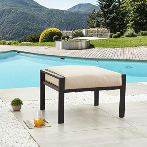 LOKATSE HOME Outdoor Ottoman Patio Footstool Small Seat Furniture with Soft Thick Cushion for Garden Yard Deck Poolside, Beige