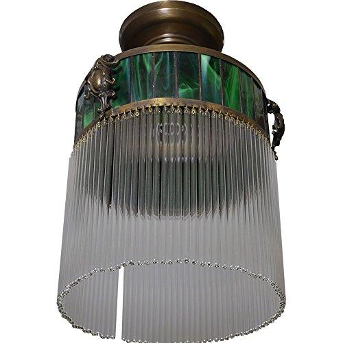 Antyki24 Art Deco Hängelampe Lampe Deckenlampe Glas Leuchte Messing Deckenleuchte Jugends Grün 35 x 21 cm