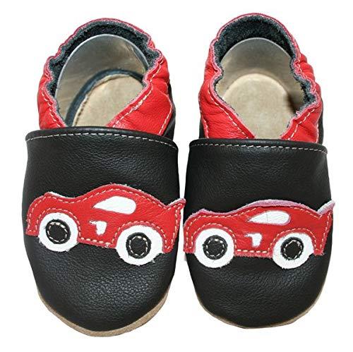 HOBEA-Germany Baby Krabbelschuhe Jungen, Kinderhausschuhe Jungen, Lederschuhe, Schuhgröße:24/25 (24-30 Monate), Modell Schuhe:Rennauto