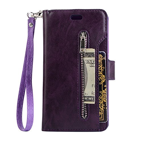 iPhone Xs Max Case 6.5 Inch,Magnetic Closure Case with Card Holder Waterproof PU Leather Case Wallet with Hand Strap Flip Carrying Case Cover for iPhone Xs Max - Purple