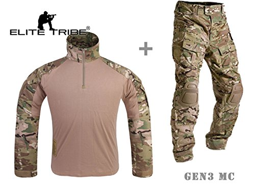 Mensche Militär Kleidung Paintball Kriegsspiel Kampf Gen3 Taktisch Uniform Hemd Hose Kniepolster Multicam MC (XL)