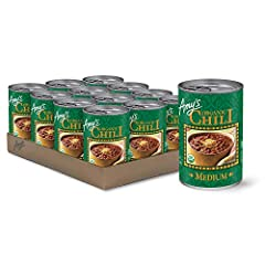 Twelve 14.7 oz. cans of Amy's Organic Medium Chili the whole family will love Organic red beans and made-from-scratch tofu simmered in a Mexican-style broth Thick and flavorful in taste Vegan, Certified Kosher, Gluten Free, Dairy and Lactose Free, Tr...