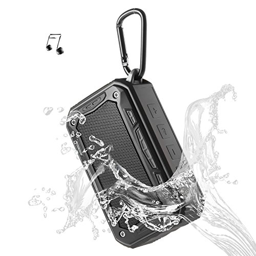 Portable Speaker Bluetooth Wireless Speakers V4.2 IP67 Water Dust Proof 33 ft Bluetooth Range Built-in Power Bank and Mic Waterproof Speaker for Outdoors,Hiking,Running,Shower, Travel,Camping (Black)