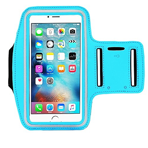 Water Resistant Sports iBarbe Armband with Key Holder and Night Reflective for iPhone X 8 Plus 7 Plus, 6 Plus, 6S Plus,Galaxy s8,s8+,S6/S5, Note 4 etc.Running Exercise (SkyBlue)