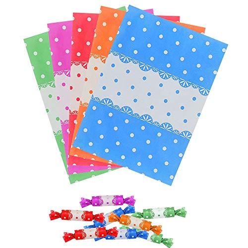 KLYNGTSK 500 Stück Bonbonpapier Süßigkeit Wachspapier Verpackungspapier Süßigkeitspapier Schokolade Packungpapier Bunte Packung Wrapper für Süßigkeiten Verpackung, 9 x 12,5 cm