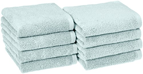 Amazon Basics Quick-Dry, Luxurious, Soft, 100% Cotton Towels, Ice Blue - Set of 8 Hand Towels