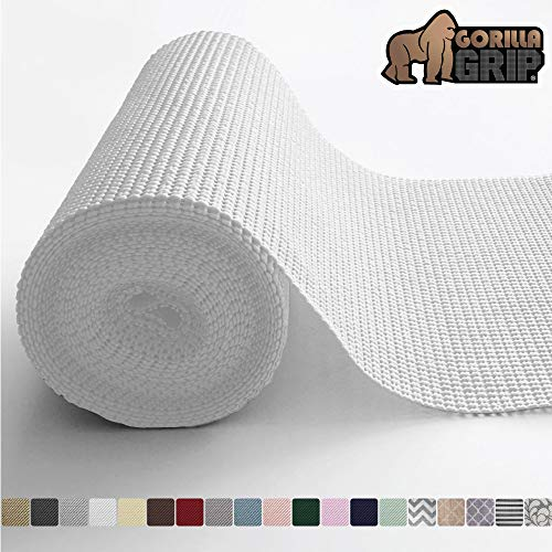 Gorilla Grip Original Drawer and Shelf Liner, Non Adhesive Roll, 12 Inch x 20 FT, Durable and Strong, Grip Liners for Drawers, Shelves, Cabinets, Storage, Kitchen and Desks, Snow White