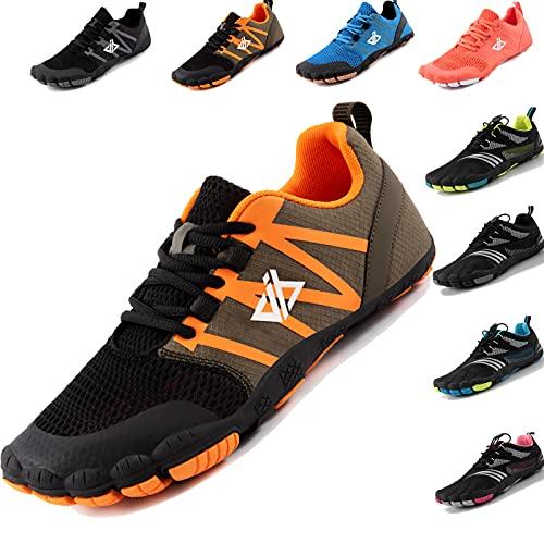 JACKSHIBO Zapatos descalzos para hombre y mujer, transpirables, para correr, fitness, suaves, ligeros, antideslizantes, para trekking o trail, caqui, 43 EU