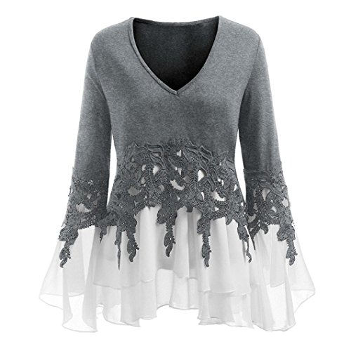 Overdose Mode Damen Herbst Langarmshirt Blusen T Shirt Plus Size Bluse Casual Frauen Sommer Tops Blumendruck Schulterfrei Oberteile Cami Blusentops