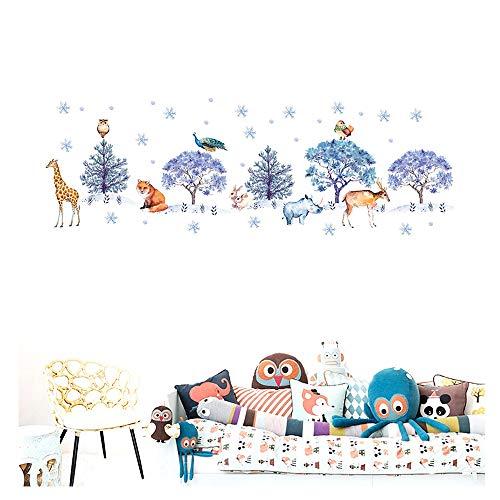 Sneeuwvlok Bos Dieren Stickers, Kinderkamer Decoratie Schilderij Kerstmis Muur Stickers houlian shop-11.11