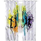 jinguizi Cortina de ventana drapeada juvenil colorida fiesta Festival W52 x L84 cortinas opacas para dormitorio de los niños