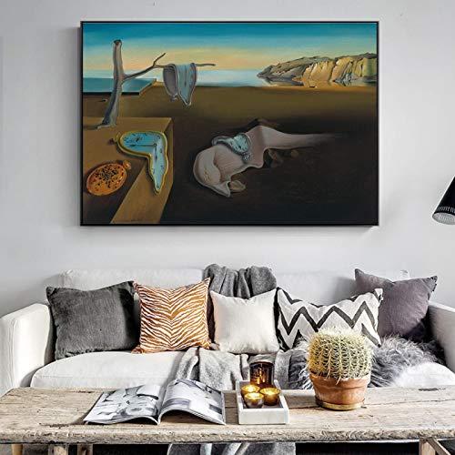 """XIANGPEIFBH Die Beständigkeit der Erinnerung Berühmte Leinwandbilder von Salvador Dali Wandkunst Leinwanddrucke Wandbilder für Wohnzimmer 70x100cm (28""""x39) Ungerahmt"""