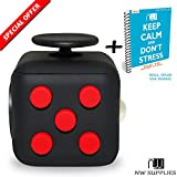 NW supplies Fidget Cube - Gadget / Toy Against Stress, Restless Hands, Perfect for Nervous Fingers for Distraction, Known from AMSCAN - comparable to The original (Red and Black) -