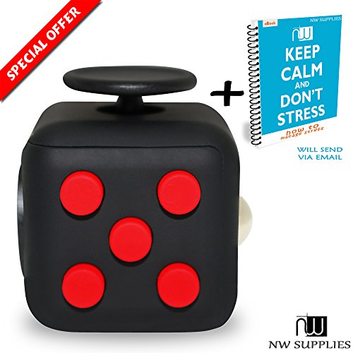 NW supplies Fidget Cube - Gadget / Toy Against Stress, Restless Hands, Perfect for Nervous Fingers for Distraction, Known from AMSCAN - comparable to The original (Red and Black)