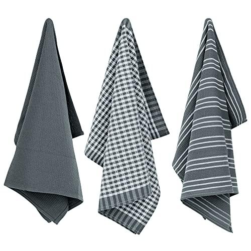 Mecdino Juego de 3 paños de cocina absorbentes, 45 x 65 cm, 100% algodón, color gris