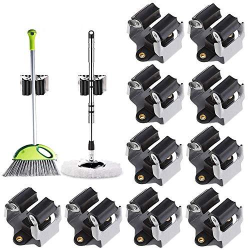 Obtto Soporte para escoba, 10 unidades, resistente para montaje en pared, ganchos para escoba, organizador de pinzas para armario, cocina, jardín, garaje, baño, oficina, color negro