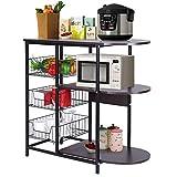 Storage Shelf, Baker's Rack Microwave Oven Stand Storage Rack Organizer Utility Rack Display Storage Caddy Shelf for use in Pantry, Living Room, Kitchen, Garage31.5 x 13.0 x 29.5 inches (Black)