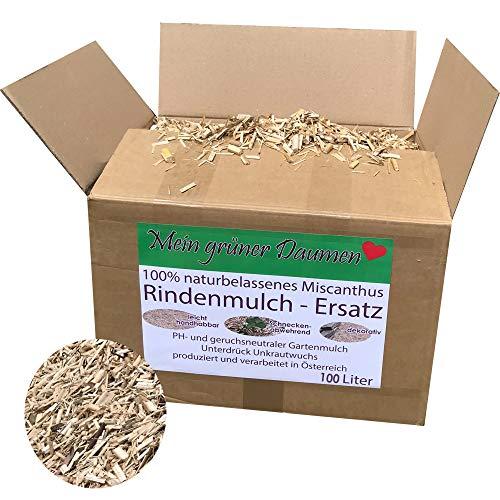 Mein grüner Daumen Rindenmulch-Ersatz für den Garten aus gehäckselten Miscanthus, Elefantengras, Chinagras Häcksel ph-neutral und Unkraut bekämpfend (Large)
